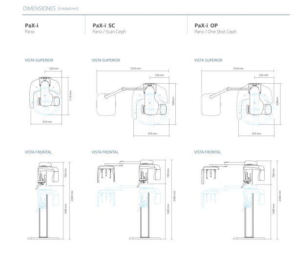 Dimensiones de Nuestro Rayos X Digital Pax-i de Vatech