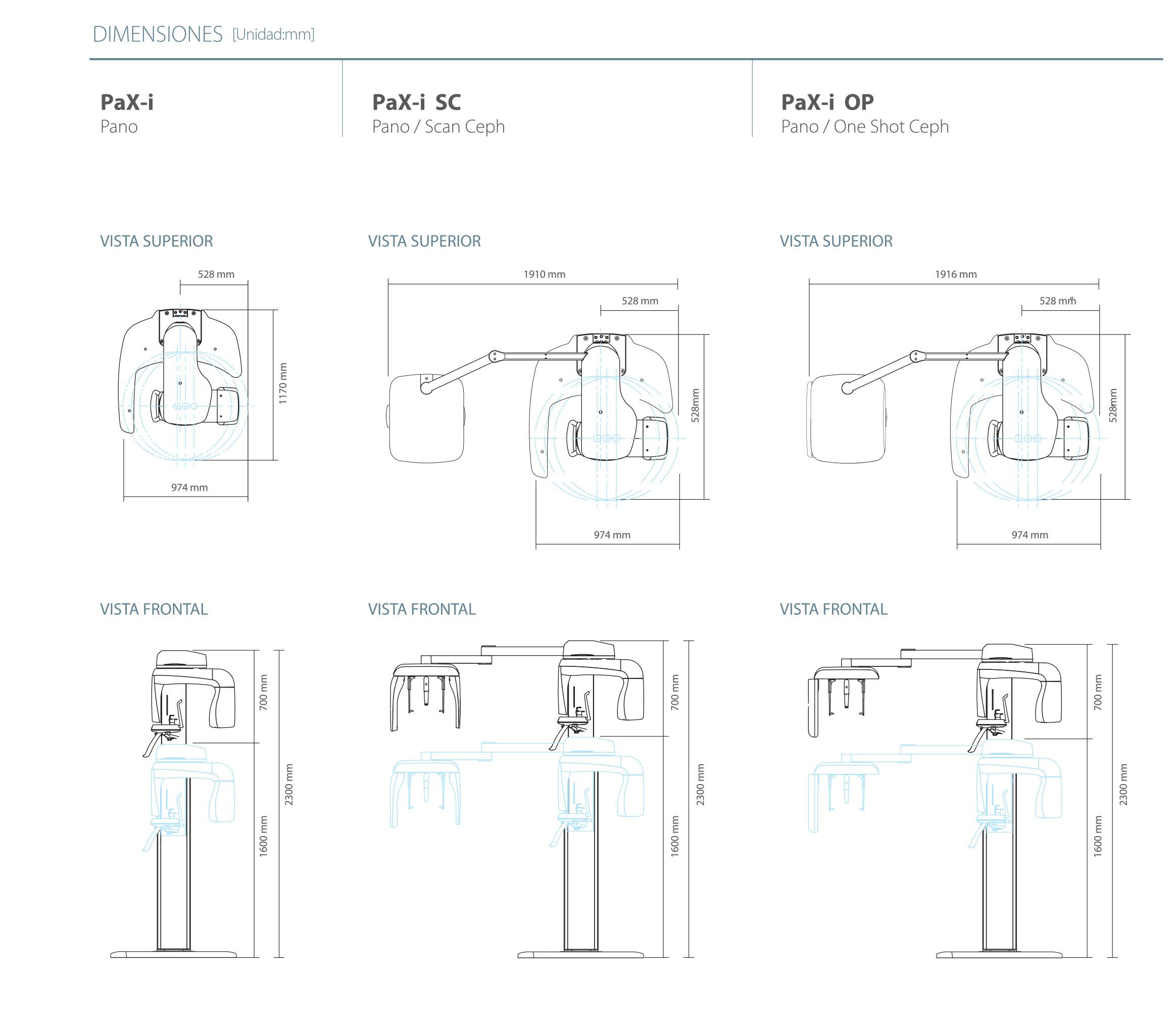 Dimensiones de Nuestro Rayos X Digital Pax-i