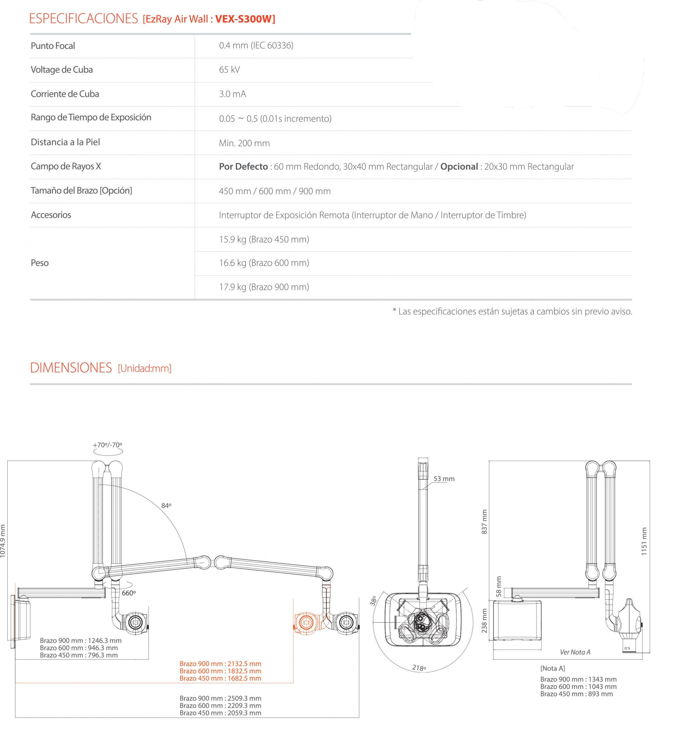 Especificaciones y dmensiones de nuestro Rayos X intraoral EzRay Air Wall