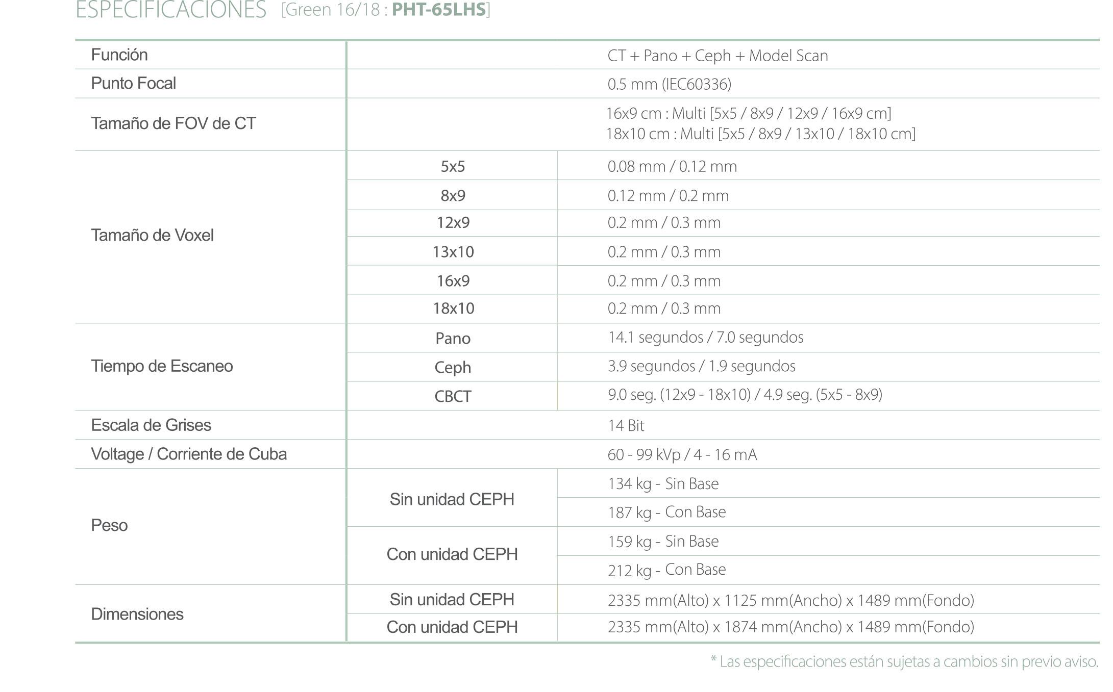 Rayos X dental precio Green 16 y 18 configuración equipo