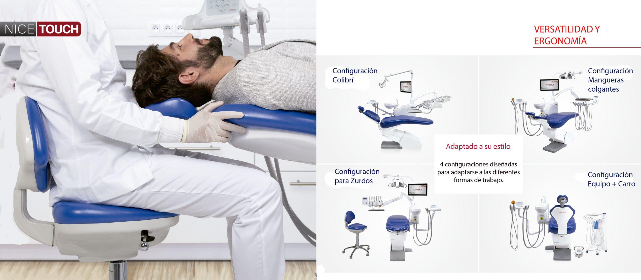 Sillón dental Miglionico Nice Touch Versatilidad en su configuración